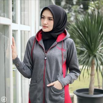 Jaket Untuk Hijaber Avia HJ-AVA-DARK-GREY-XXL